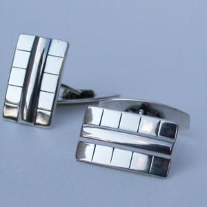 Zilveren art deco manchetknopen