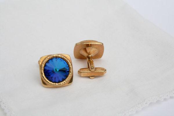 Jaren 70 manchetknopen met blauwe steen
