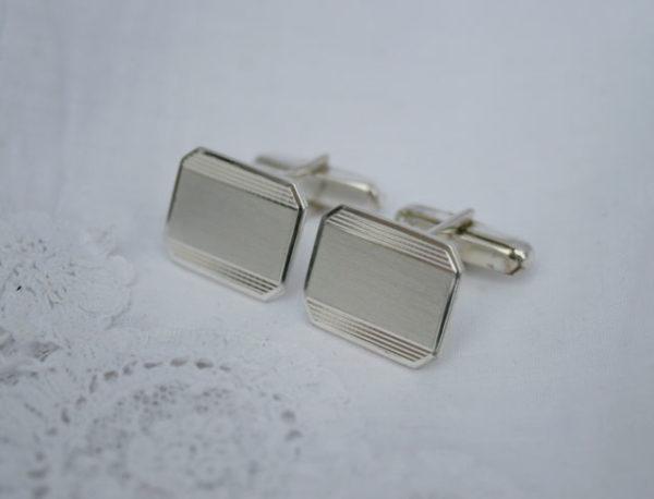 Manchetknopen graveerbaar met initialen, vintage, zilver