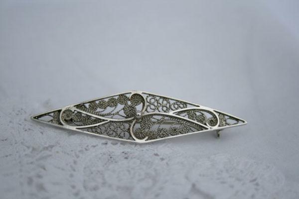 Zilveren vintage jaren 50 broche