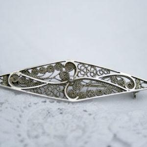 zilveren filigrain broche jaren 50