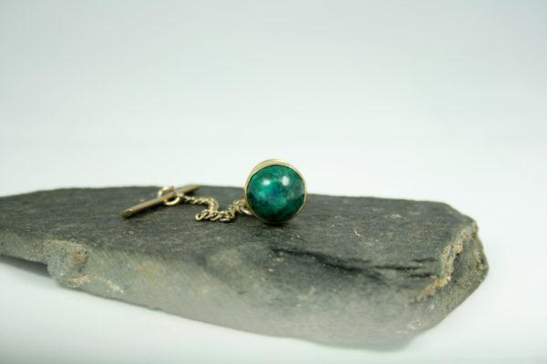 Daspin - tie pin - met groene edelsteen
