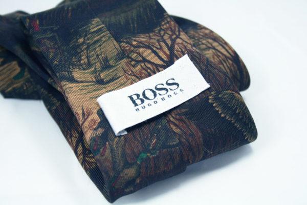 Vintage Hugo Boss stropdas met eendenprint