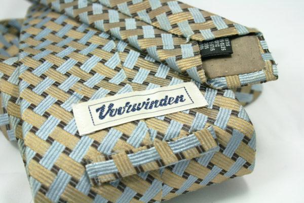 Vintage stropdas met goud en lichtblauw weefpatroon
