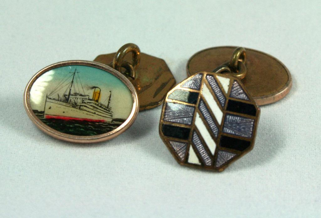 Art Deco manchetknopen met schip