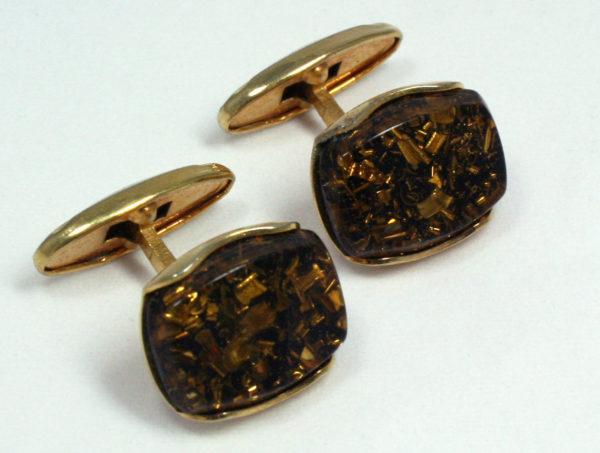 Vintage manchetknopen in bruin en goud