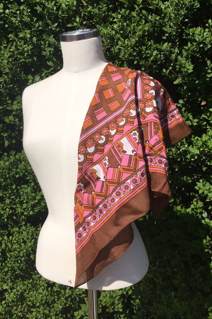 Retro sjaal bruin oranje roze
