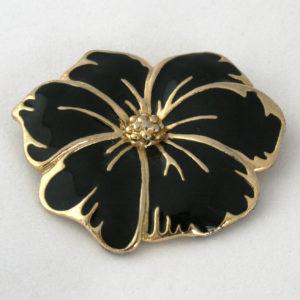 bloem broche zwart goud