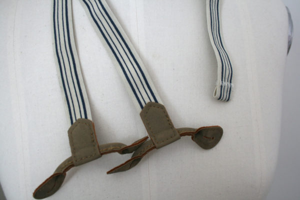 vintage jongensbretels wit/blauw/bruingroen