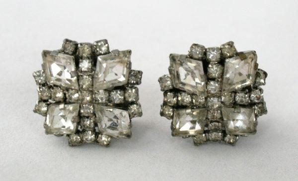 glamour oorbellen met strass, jaren 50-60
