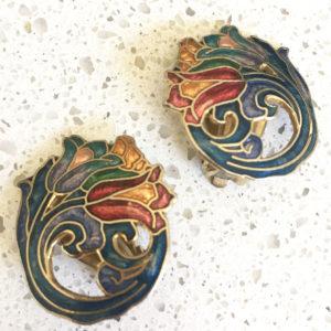 cloisonne oorbellen in art nouveau stijl