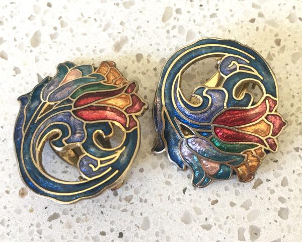 vintage sieraden webshop: art nouveau oorbellen