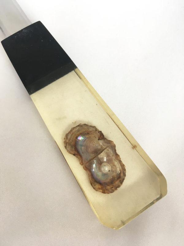 Briefopener met parel in oester