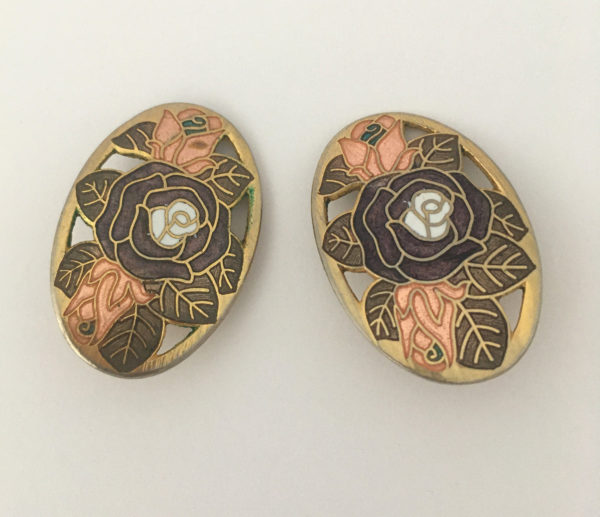 Cloisonne oorbellen met rozen