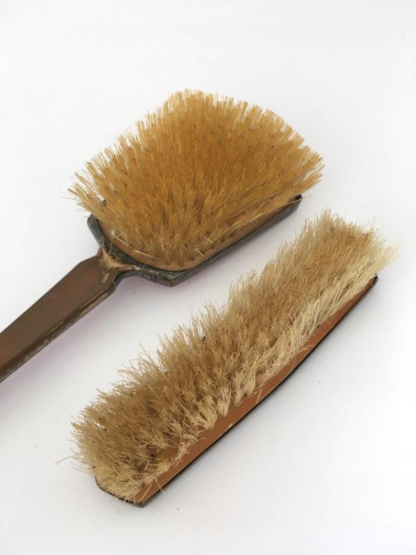 Enamel guilloche vanity brush set