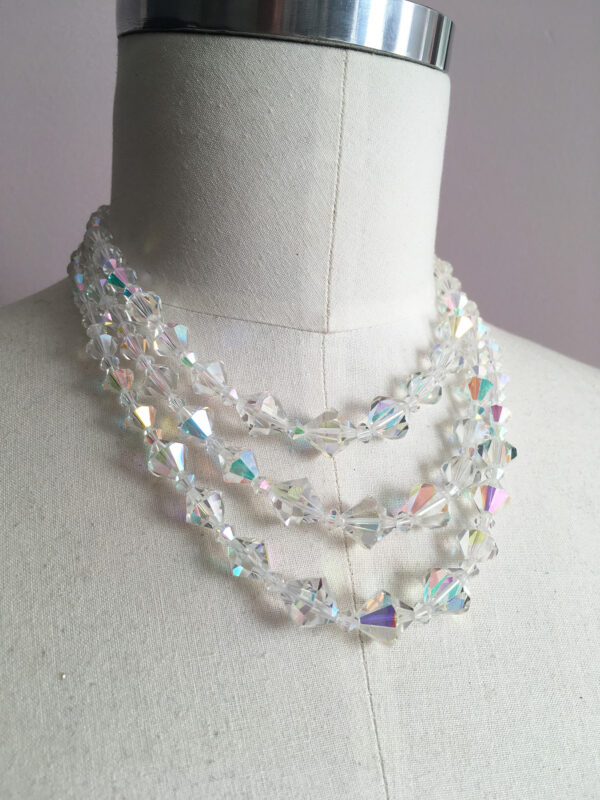 Beautiful aurora borealis necklace with 3 strands
