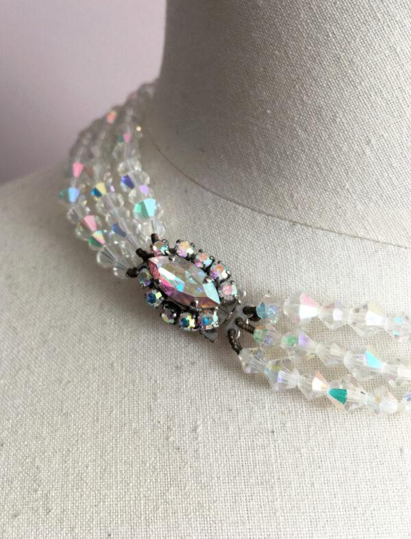 Vintage aurora borealis necklace with 3 strands.