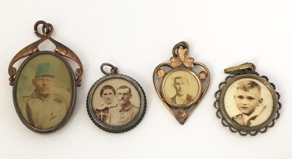 Antieke portret sieraden, celluloid hangers