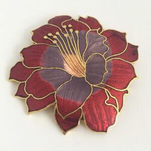 Grote cloisonné bloem broche