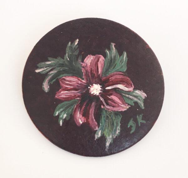 handbeschilderde houten broche