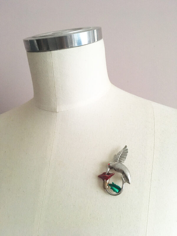 Vintage vogel broche van een kolibrie