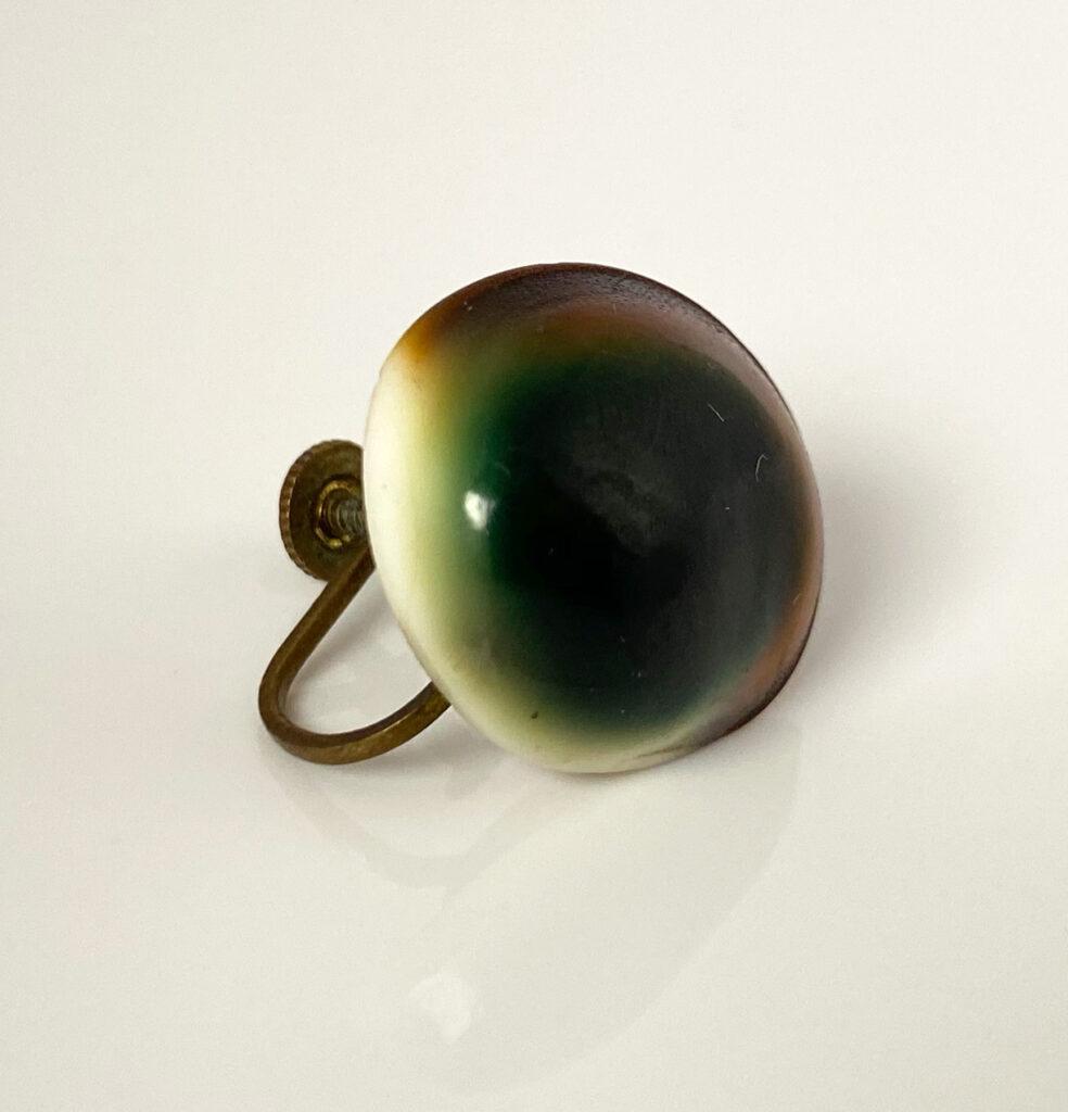 vintage operculum screw back earrings