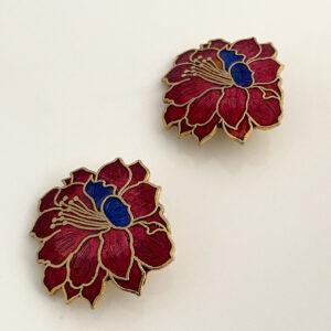 Cloisonne oorbellen in bloemvorm