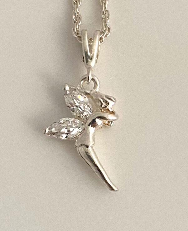 Zilveren Tinkerbell hanger of ketting