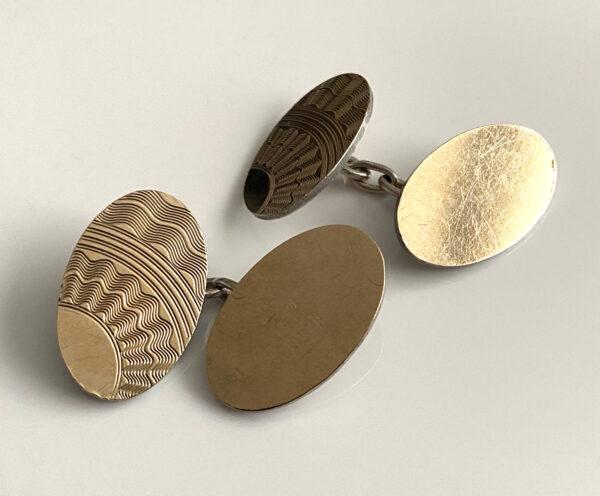 9 karaat vergulde zilveren art deco manchetknopen