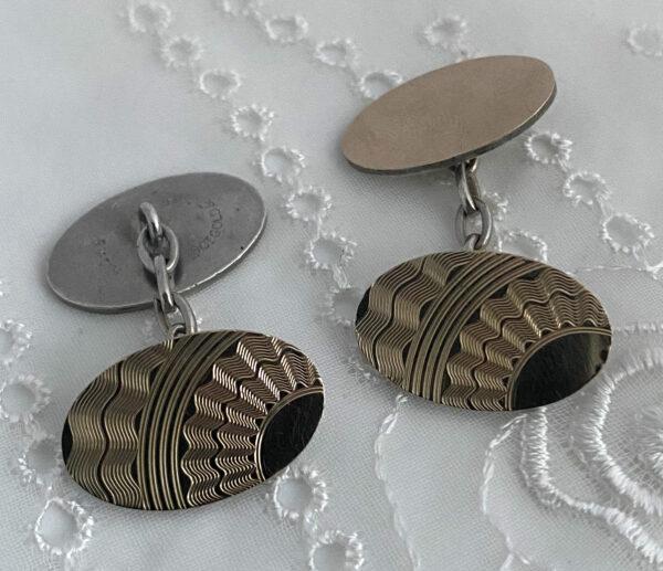 manchetknopen art deco 9ct gold on zilver