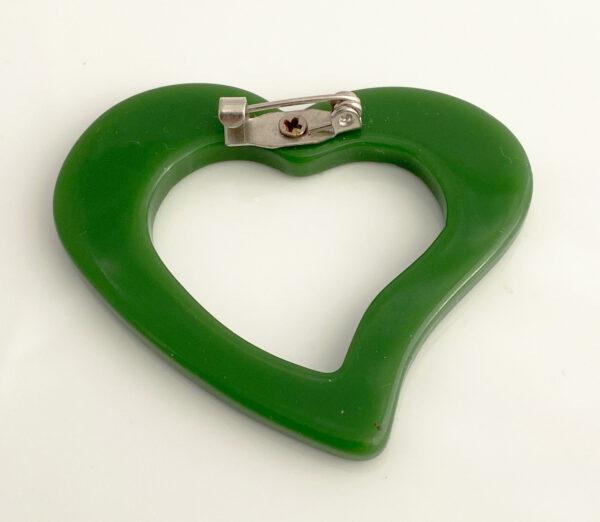 Groen hart broche plastic