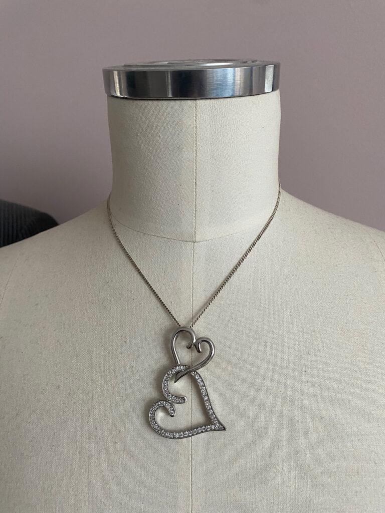 zilveren 925 ketting met twee harten