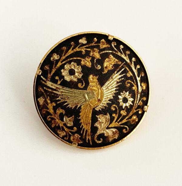 Damascene broche met vogel