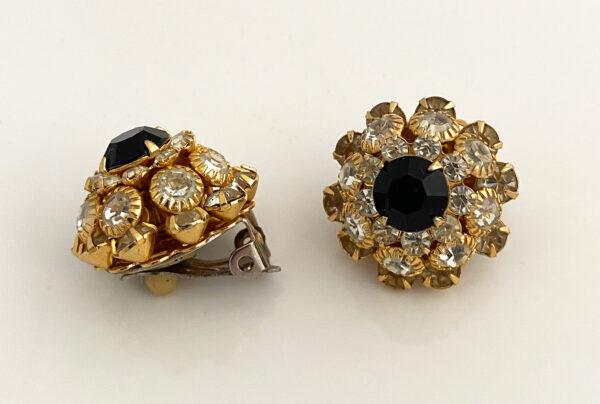 bling-bling oorbellen met zwarte steen