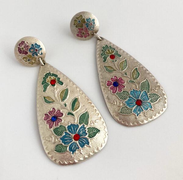 vintage hang oorbellen met bloemen
