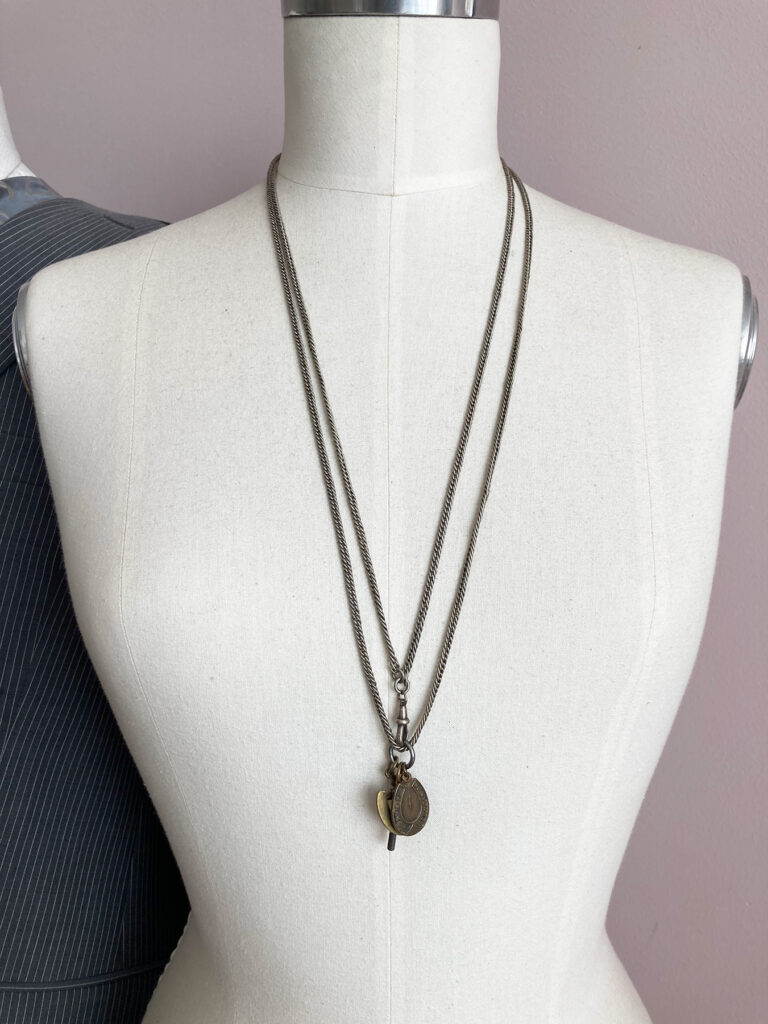vintage longuard chain with pendants and watch key